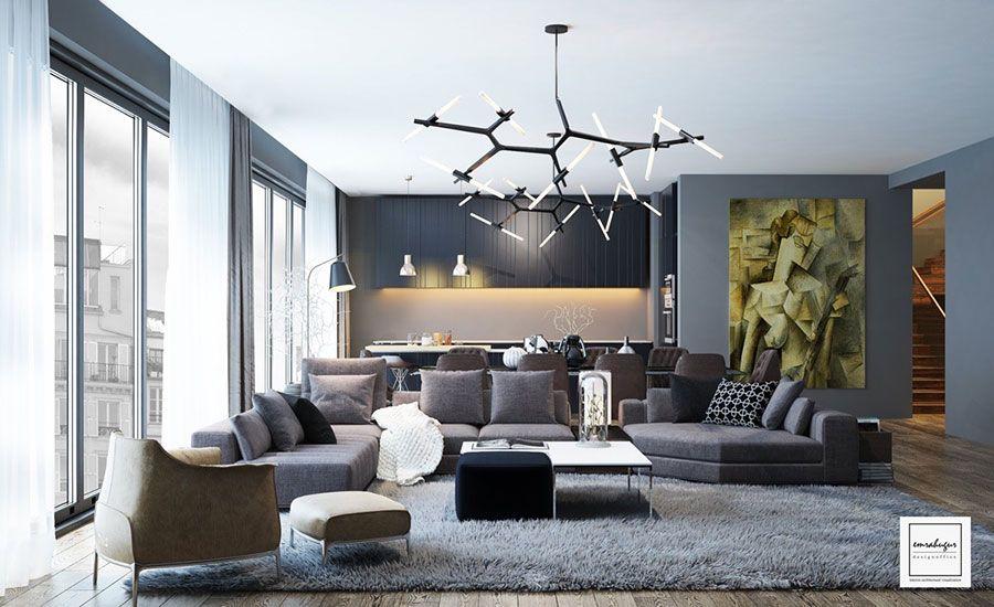 Arredare un open space cucina soggiorno vintage 04 | 客厅家具 ...