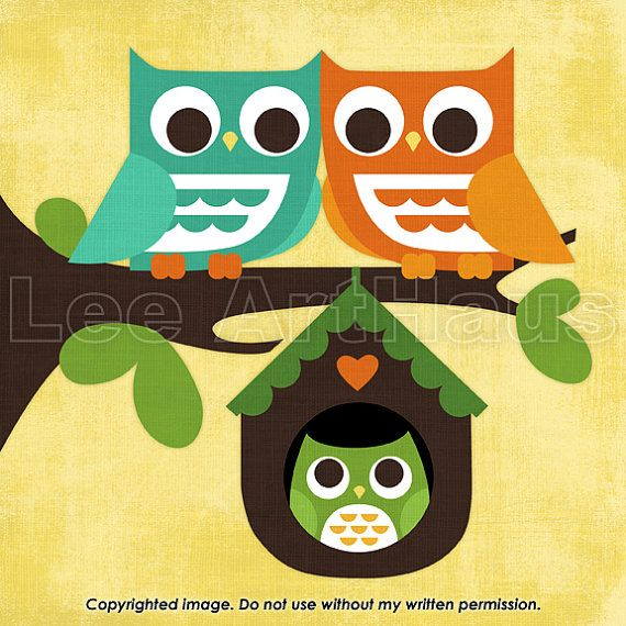 61B Bright Owl Family in Tree 6x6 Print by leearthaus on Etsy