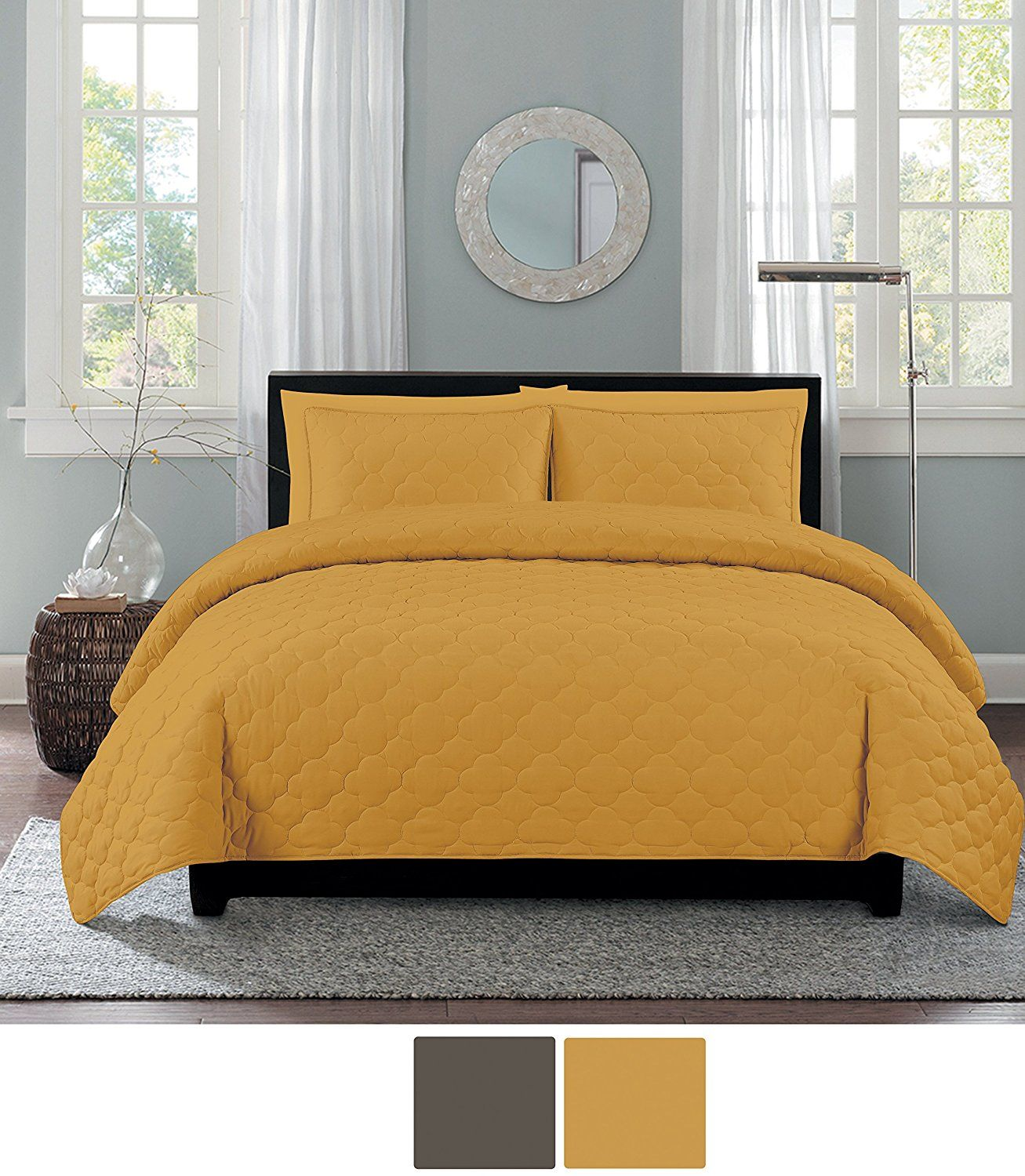 Mustard Yellow Bedding Pillow Covers & Curtains