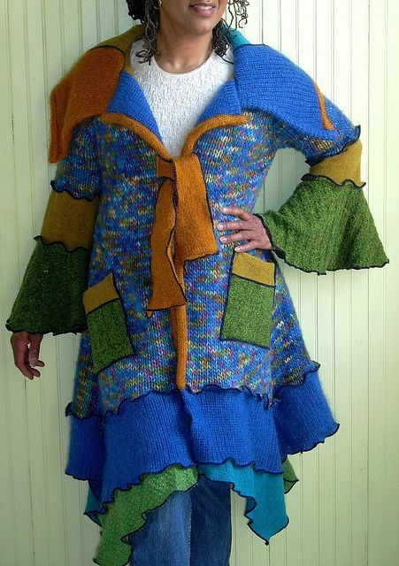 Blue and Green Tye Front Sweater Coat by brendaabdullah, via Flickr