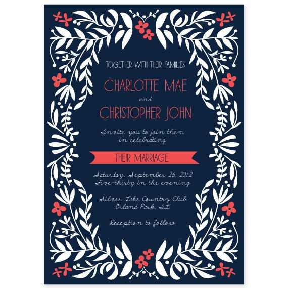Coral Colored Wedding Invitations: Navy And Coral Charming Vines Wedding Invitation By
