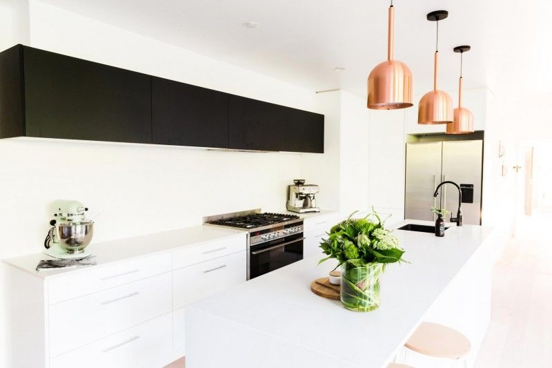 black and whit kitchen l copper pendant lights l scandinavian kitchen l reno rumble week 2 - Scandinavian Kitchen Design 2