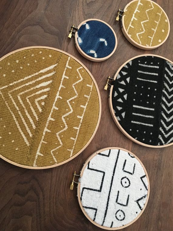African Mudcloth Gallery Wall Hanging Decor Set, Wood Circle Frames Various Sizes, Modern Boho, Authentic Vintage Textile Art 5 Pieces #africanbeauty