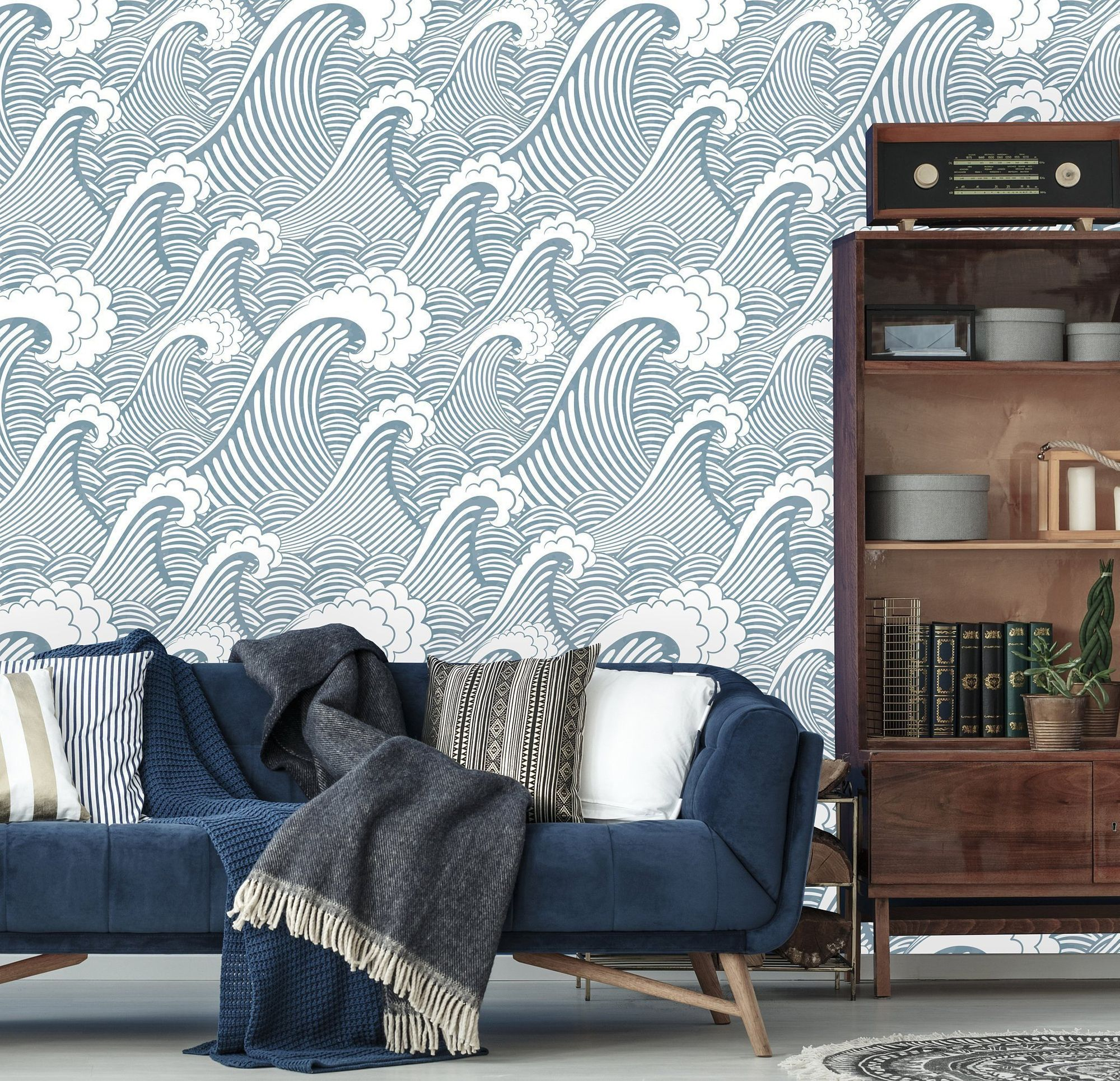 Removable Wallpaper Peel and Stick Great Wave Wallpaper