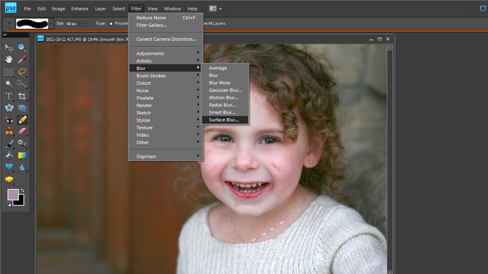how to smooth skin in photoshop elements