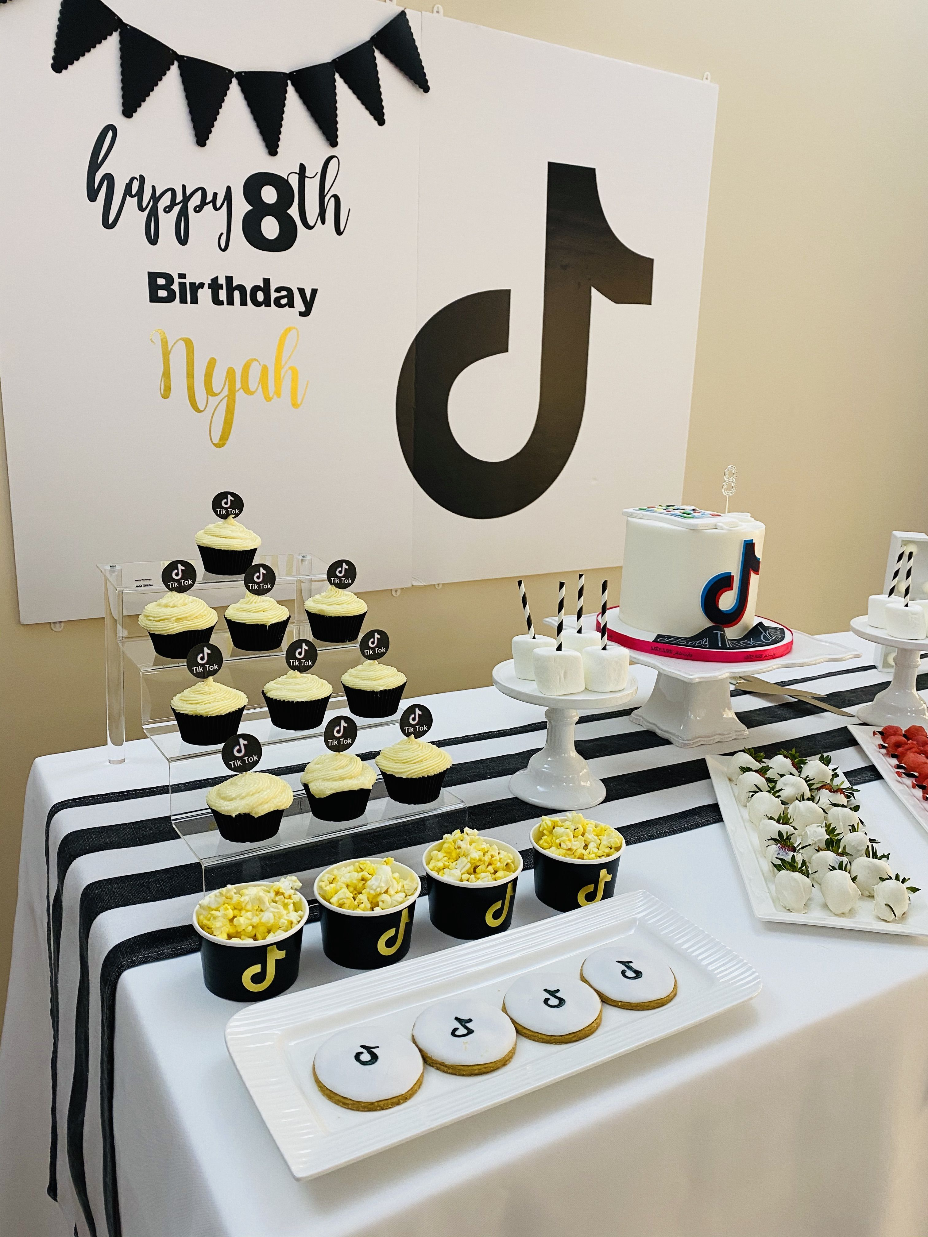 Tiktok Themed Black White And Gold Party Gold Party Food Themes 12th Birthday
