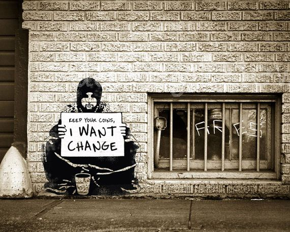 Banksy Canvas (READY TO HANG) - Keep Your Coins I Want Change - Multiple Canvas Sizes #banksyart