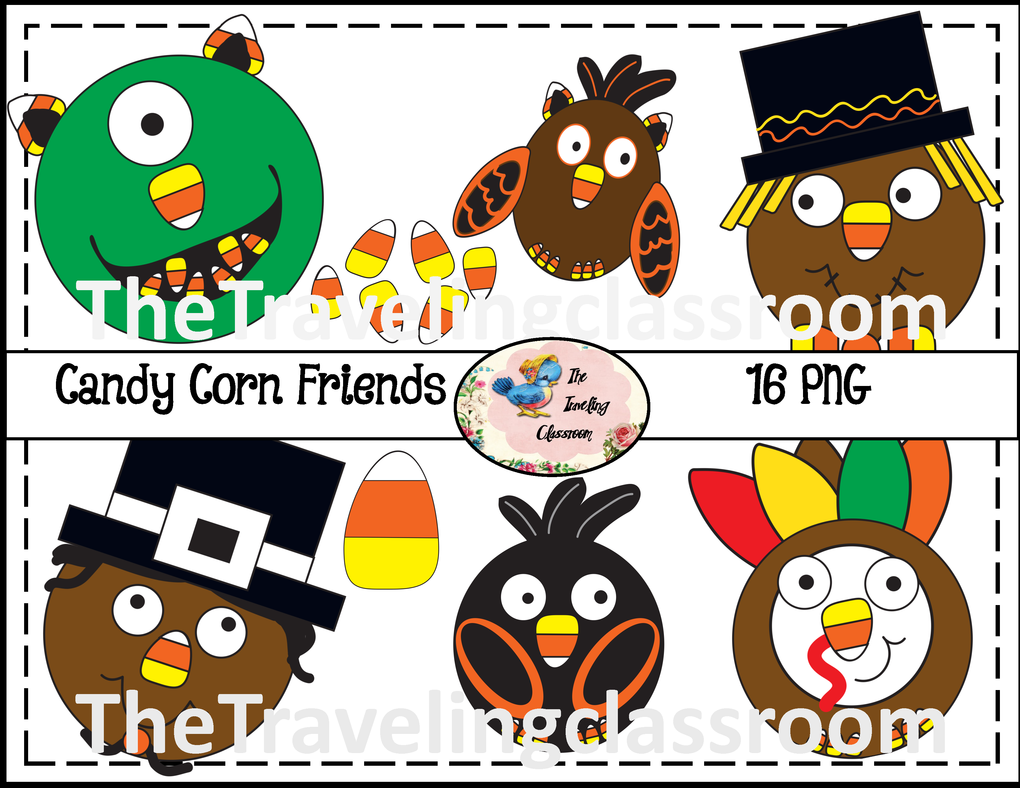 Cute Candy Corn Friends clip art! This includes 16 PNG