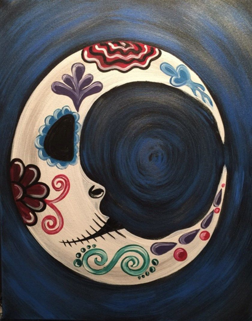 Paint Sugar Skull Crescent Moon at Pinot's Palette! #sugarskull #painting #makea…