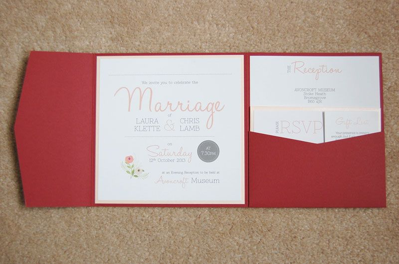 1000 images about Red Wedding Invitations – Pocket Cards for Invitations
