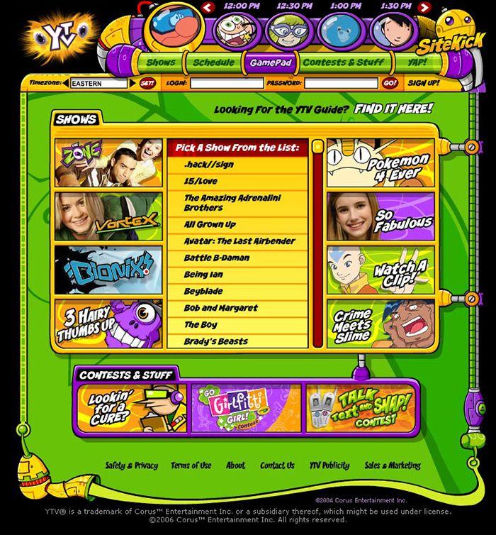 YTV website back in 2006. My Childhood TV Days