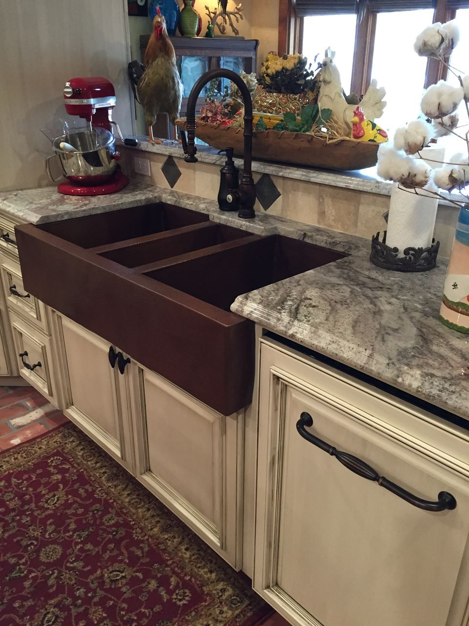 jumbo triple well copper farmhouse kitchen sink and complementary faucet dream sink    picture of jumbo triple well copper farmhouse sink      rh   pinterest com