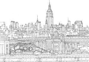 Brooklyn Bridge By Abigail Daker Black And White Drawing City
