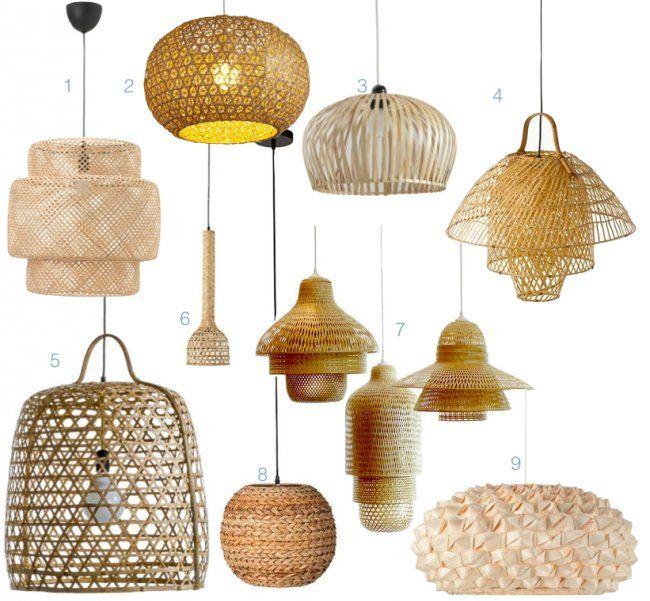 Lampe bambou et suspension dans la d coration for Lampe suspension osier