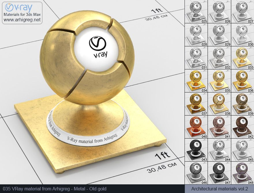 vray metal, vray materials for 3ds max vray | Vray materials