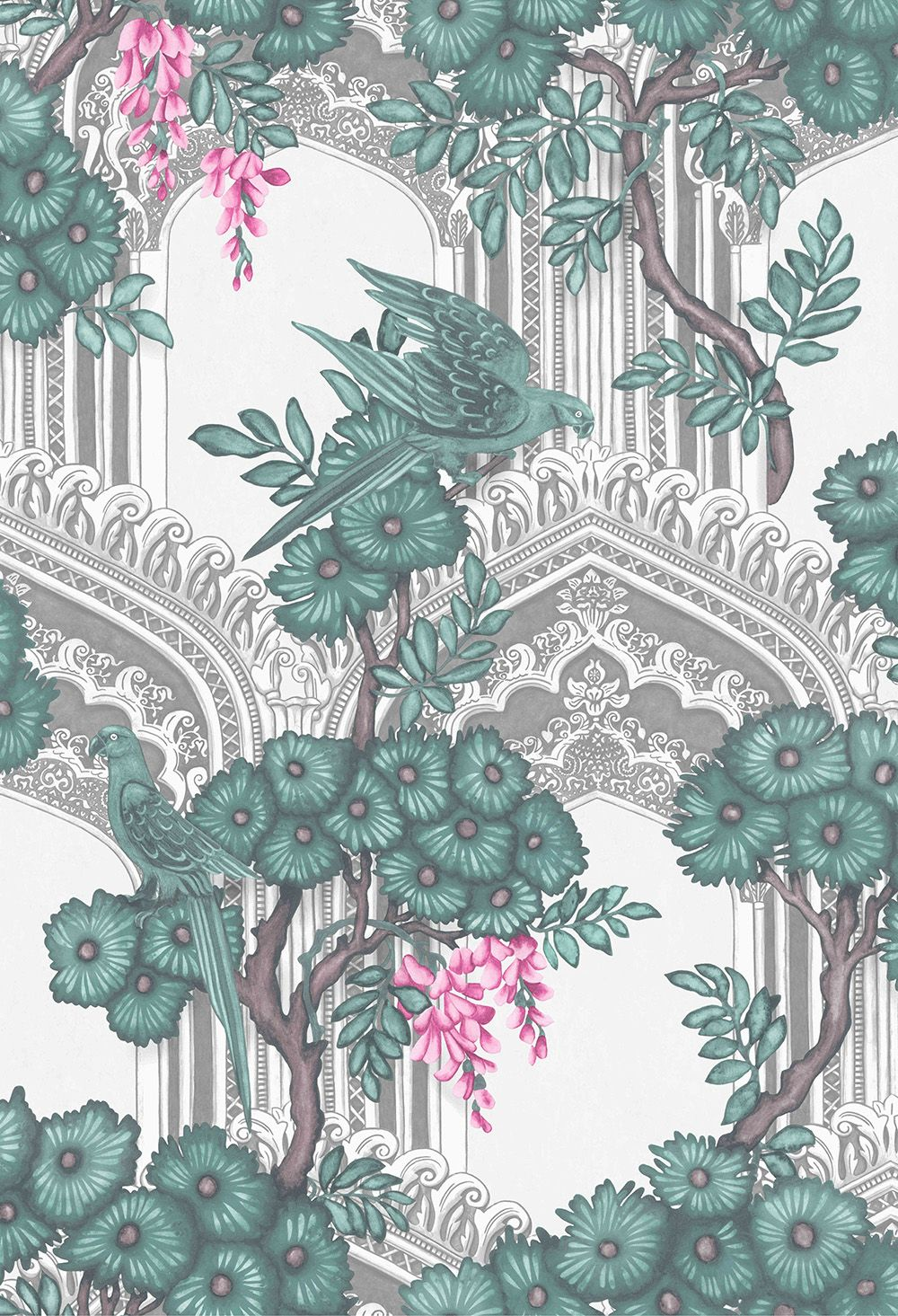 Babylon by Cole & Son Teal / Pink Wallpaper 113