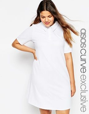 ASOS CURVE Swing Polo Dress In Texture | Plus size fashion ...
