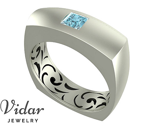 a51d3714eea27 Men Wedding Band, Unique Gold Ring With Princess Cut Aquamarine Ring ...