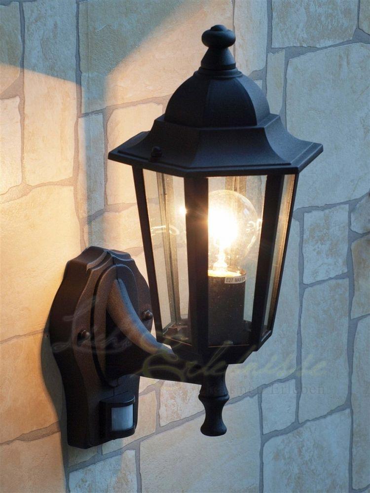 schwarze wand aussenleuchte mit bewegungsmelder sensor 8217 hoflampe hofleuchte au enlampe. Black Bedroom Furniture Sets. Home Design Ideas