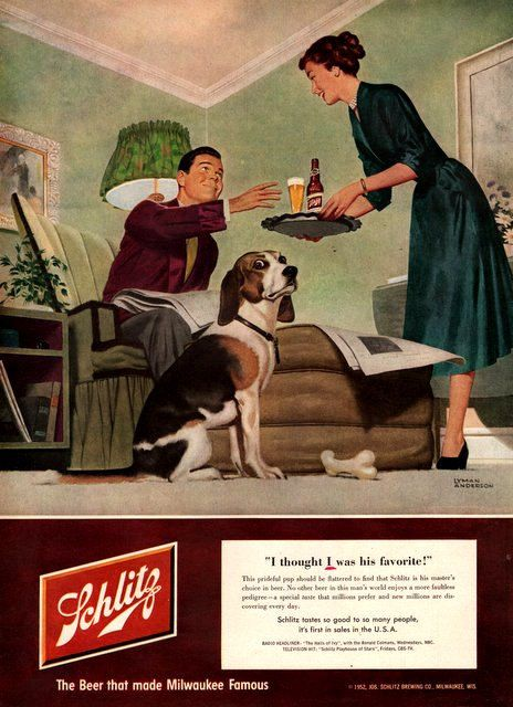 1952 Schlitz beer print ad Beagle dog vintage by Vividiom on Etsy, $9.00