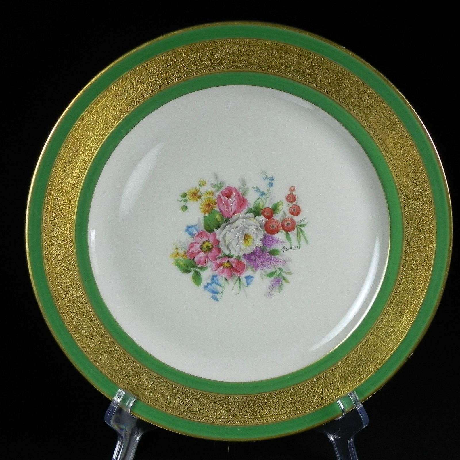 "Audon & Charles Ahrenfeldt,  Limoges Porcelain (France) - Dinner Plate. Emerald Floral. Gold Gilt, D:10 3/8"", 1894-1930   (1600x1600)"