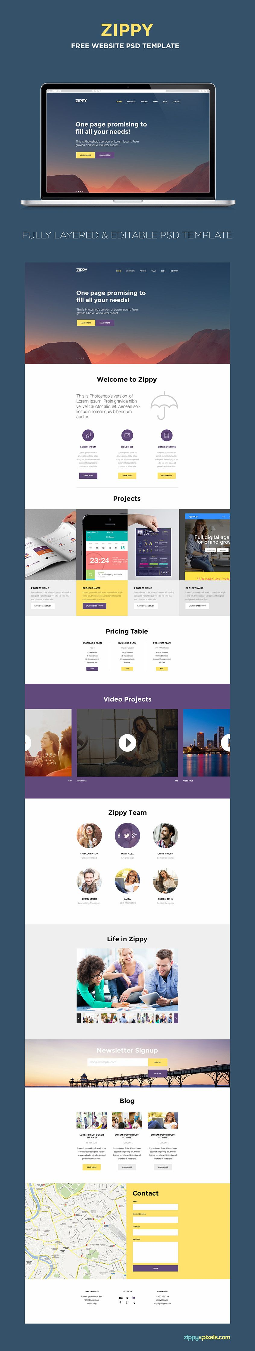 Free One Page Website Template PSD Pinterest Psd Templates - Create web page template