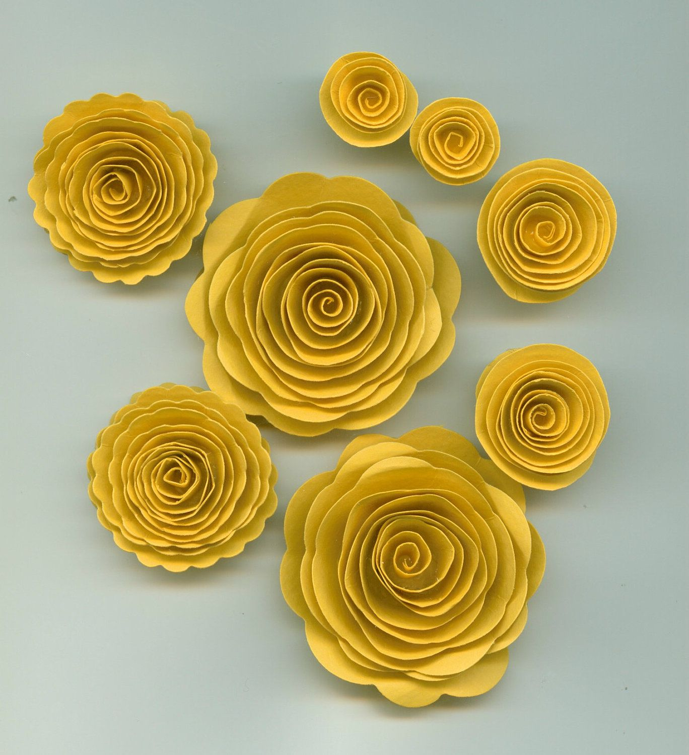 Sunflower Yellow Rose Spiral Paper Flowers. $3.30, via Etsy. | The ...