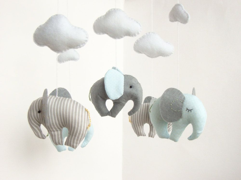 Elephant Baby Mobile Cribe Decor Handmade GBP3300 Via Etsy