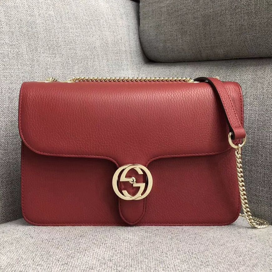 Gucci GG Leather Medium Shoulder Bag 510303 Red 2018