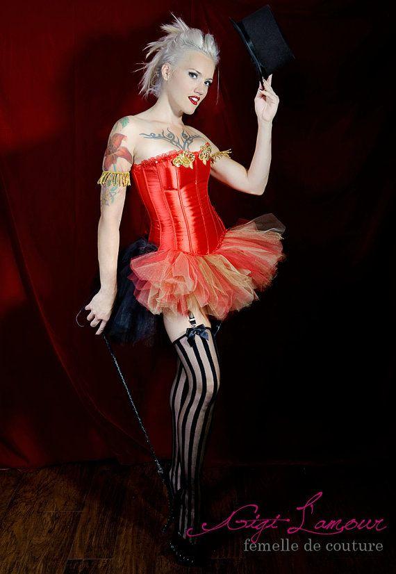 e6bd07072e RingMaster   Tulle Skirt Burlesque Costume Red Gold Black Las Vegas  Showgirl Corset Adult Women s Carnival Masquerade