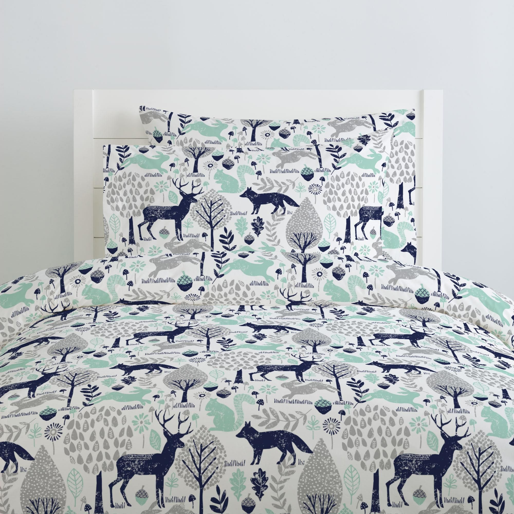 Navy and Mint Woodland Animals Duvet Cover