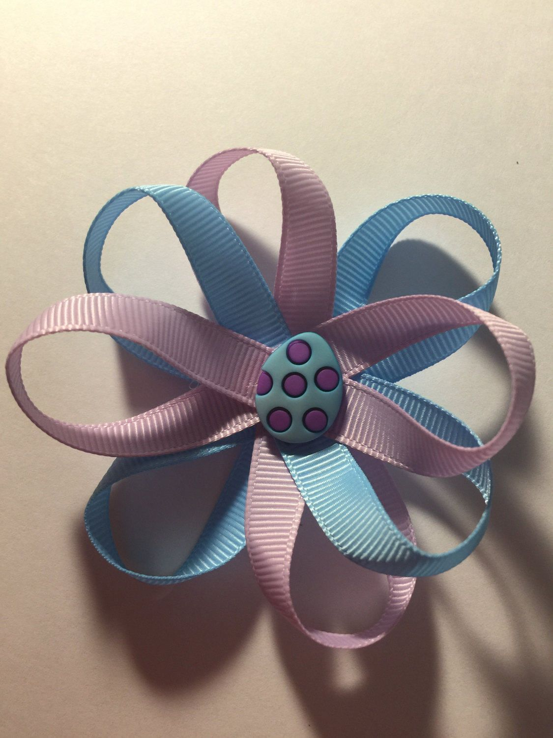 Easter egg hair bow by TotBowsByMaria on Etsy