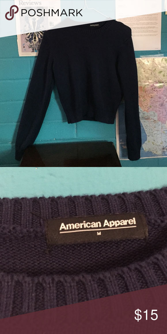 American apparel sweater navy blue knit american apparel sweater size m but fits a small too. it's cropped American Apparel Sweaters Crew & Scoop Necks