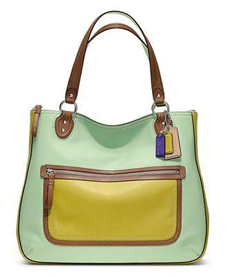 cc94b31c47 COACH POPPY LEATHER COLORBLOCK HALLIE TOTE - COACH - Handbags   Accessories  - Macys