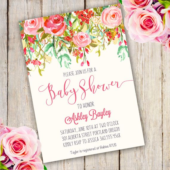 Printable Whimsical Baby Shower Invitation Template with - printable baby shower invite