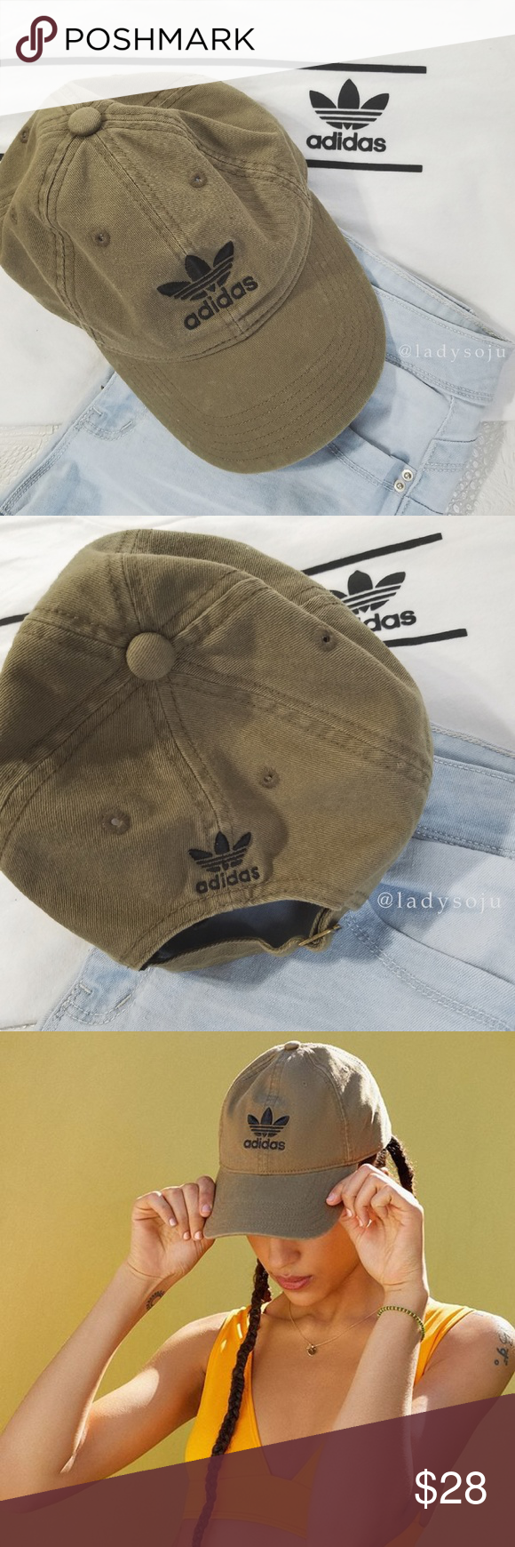 8149f7c180e Adidas Trefoil Olive Hat    Adidas Originals Relaxed Womens Dad Hat    Olive  Cap with black trefoil logo    Excellent used condition First two photos  are ...