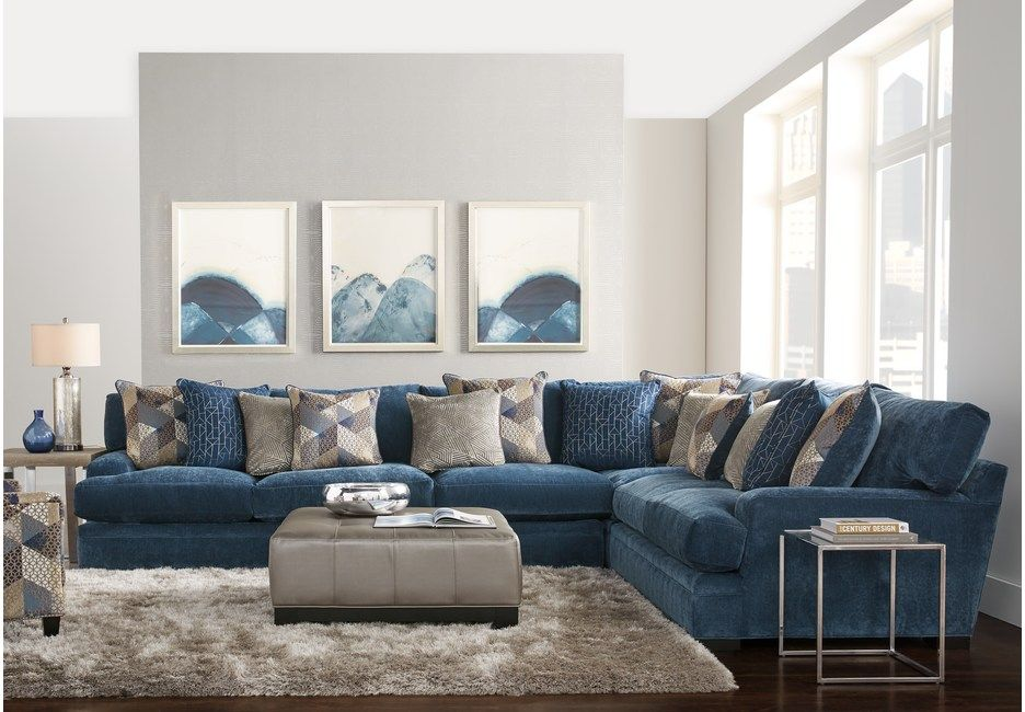 Cindy Crawford Home Beverlywood Navy 4 Pc Sectional Living Room Sets Blue Sectional Living Room Sets Blue Living Room Living Room Sets