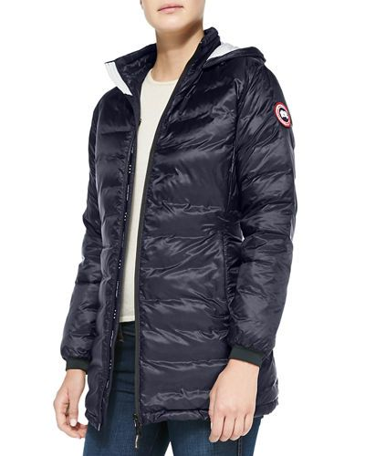 Camp Hooded Mid-Length Puffer Coat, Admiral Blue/Blac | Canada goose, Mid length and Camping