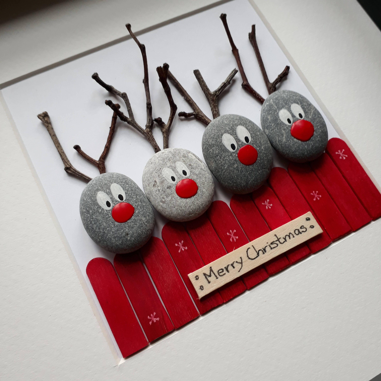 Reindeer picture, Reindeer Pebble art, Christmas Pebble Picture, Christmas presents, Christmas decorations, Reindeers gift, Christmas decor