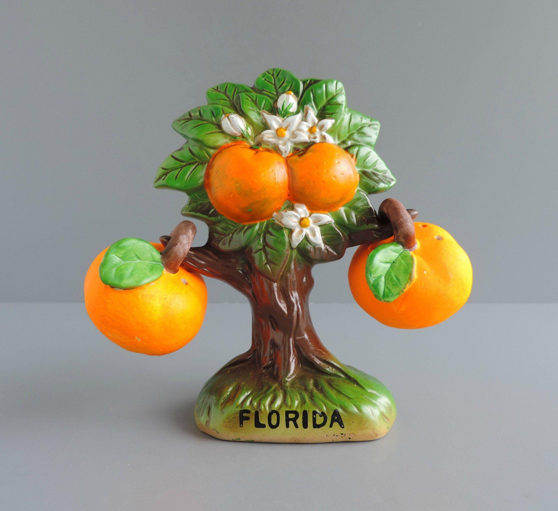 Vintage Florida Orange Tree Salt And Pepper Shaker Set | Novelty Souvenir |  Boho Bohemian Kitchen Decor By TheLogChateau On Etsy