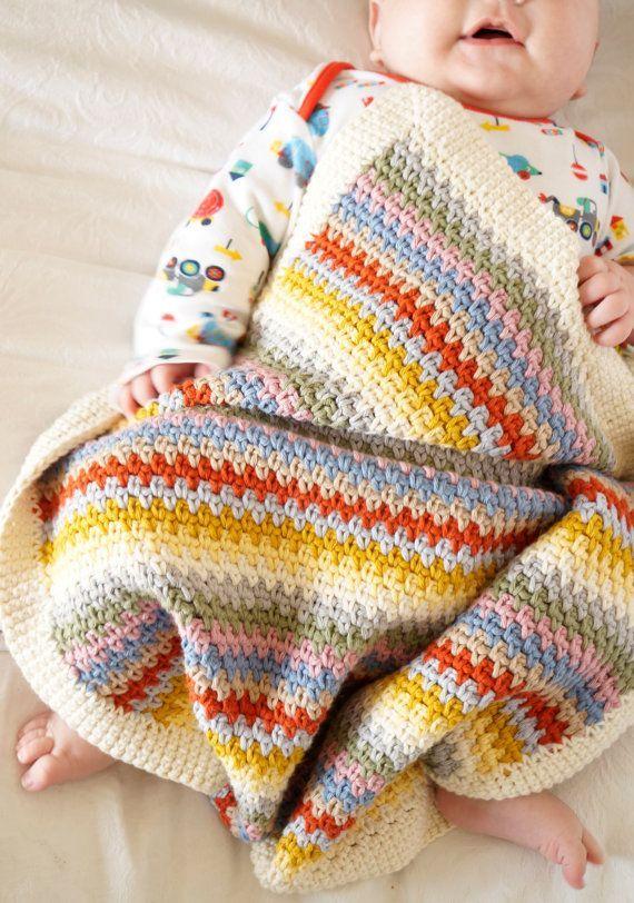 baby blanket crochet pattern striped throw pattern cotton crochet ...