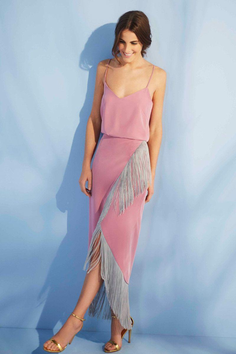 falda rosa cuarzo midi cruzada con flecos para bodas eventos ...