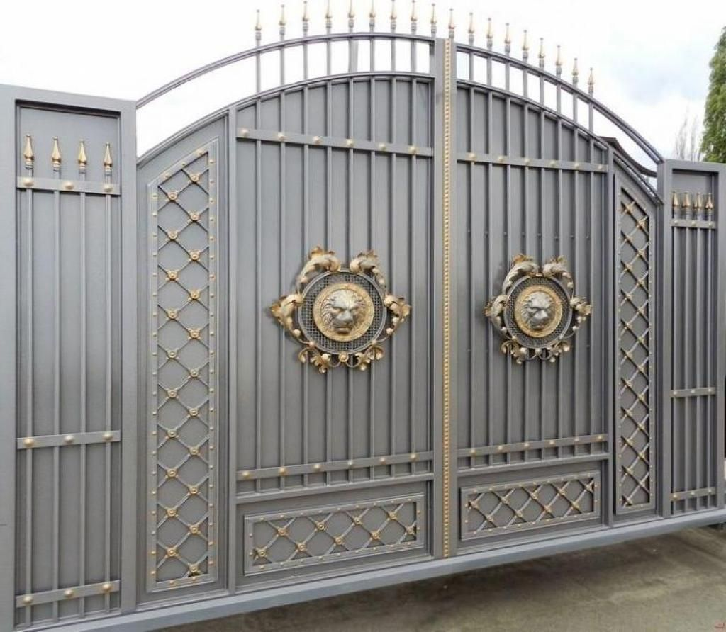 Stunning gray gold gate design ideas for modern home decor for Modern house entrance gate designs