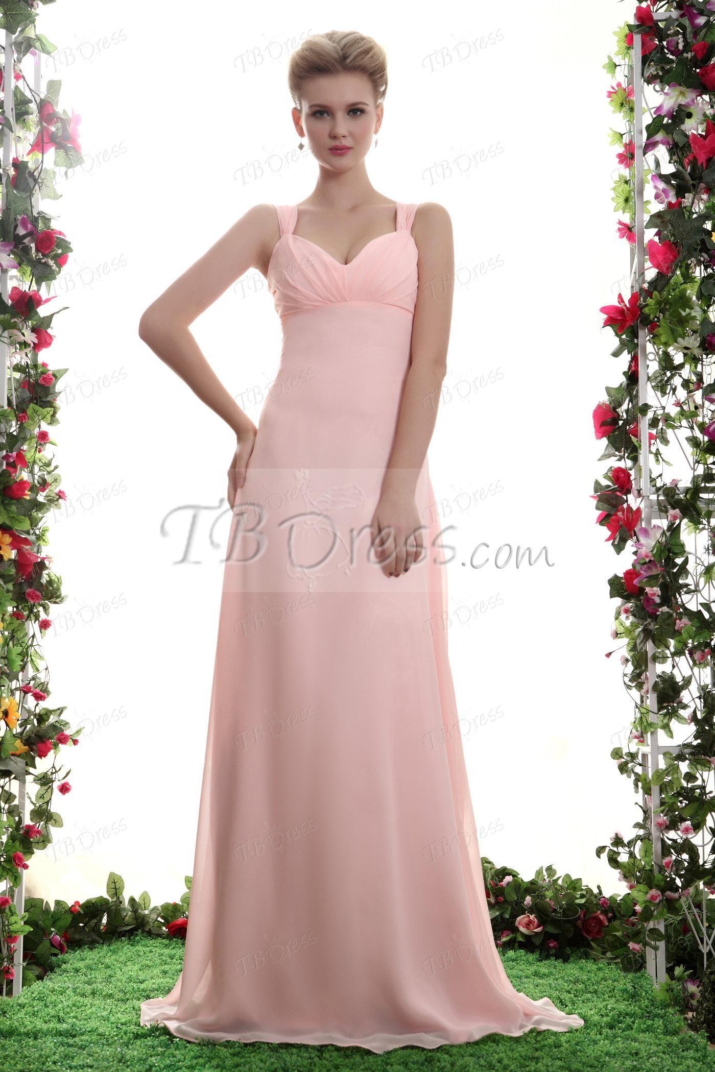 Elegant draped aline straps empire waist long bridesmaid dress a