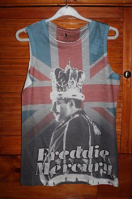 bdc38d4a3e847b FREDDIE MERCURY QUEEN UK FLAG ROCK T Shirt Top 6 8 10 12 14 16 18 20  Primark