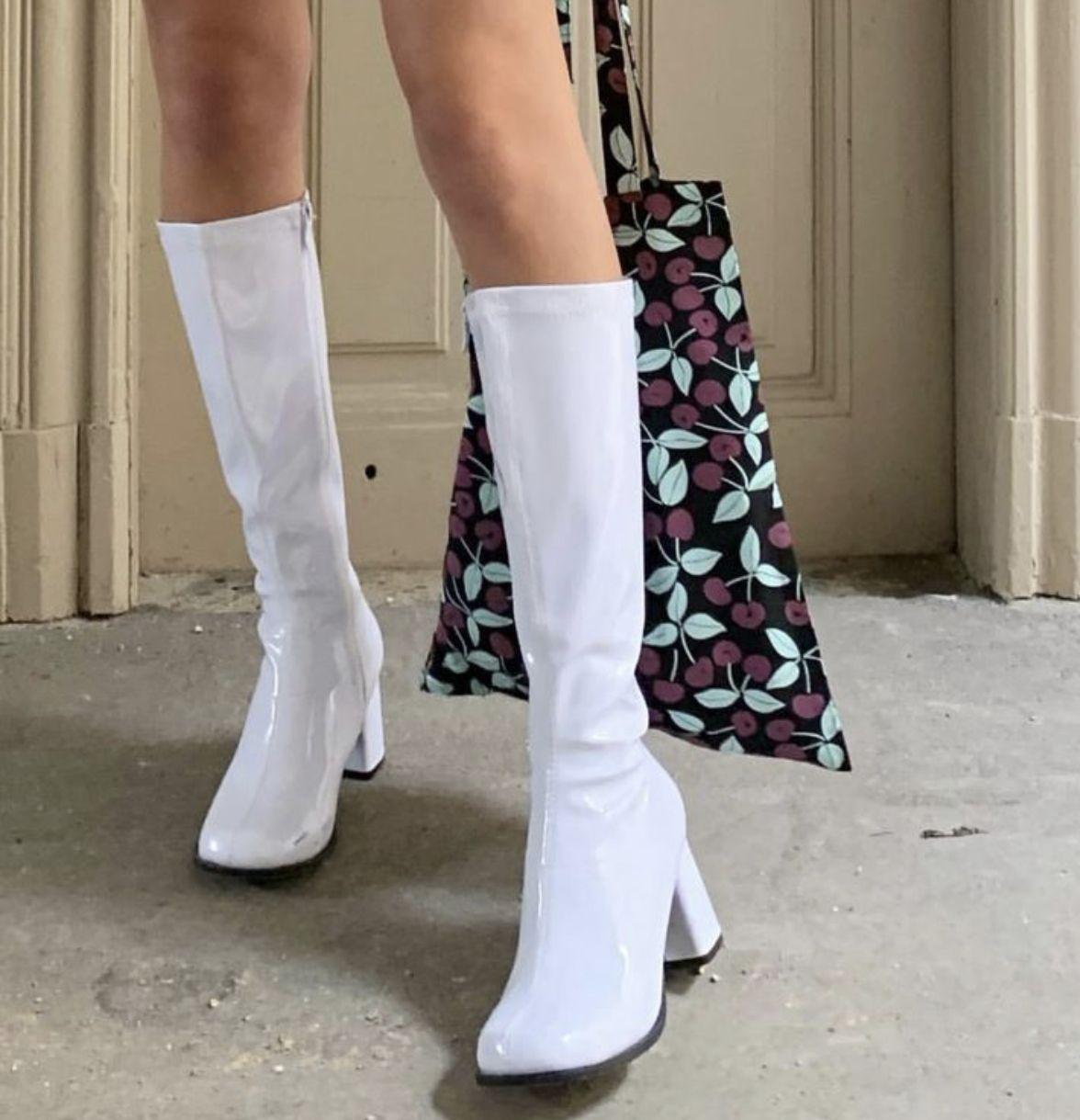Womens White Patent Go Go Boots