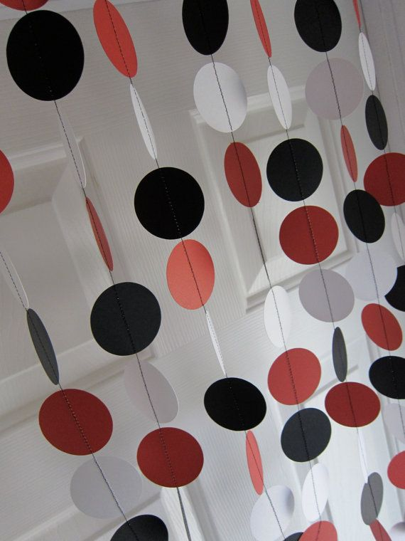 paper garland, decorations, red, black, & white circles, birthday