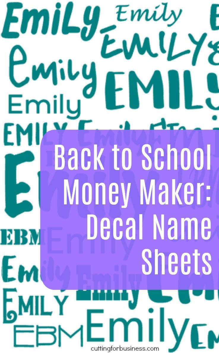 Back to School Money Maker: Vinyl Name Decal Sheets   #SU