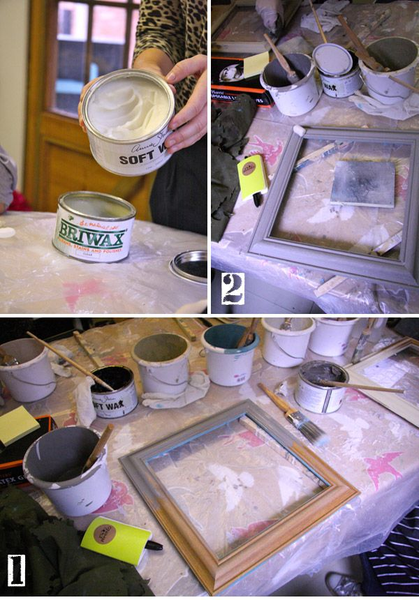Easy paint technique for transforming old  frames.  One of the steps is rubbing a candle into corners and areas that you want the wood to show through.  Can't wait to try this!
