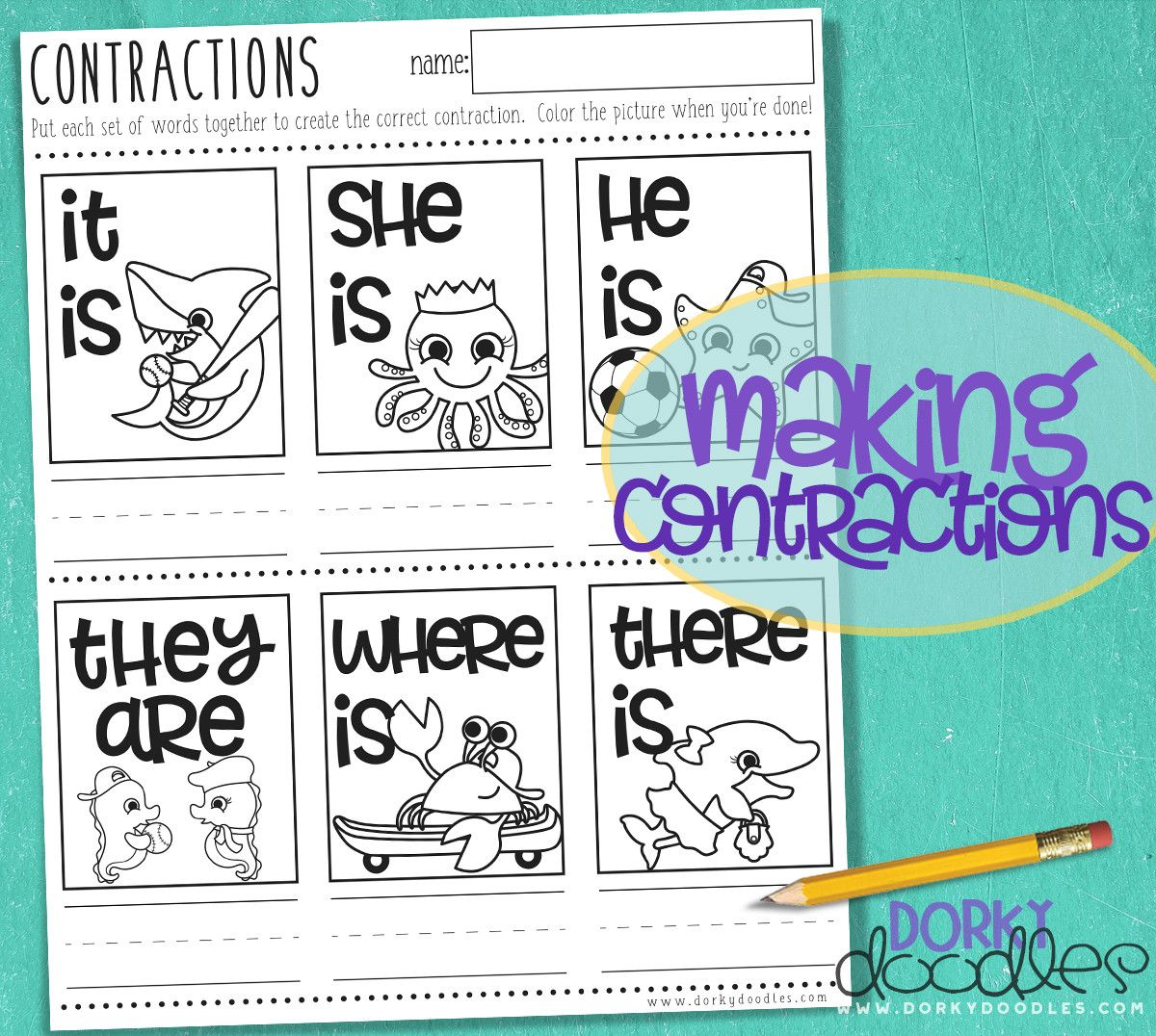 Practice simple contractions with this printable worksheet for homeschool,  first grade, or second grade. With ocean animals like dolphin, shark,  seahorse